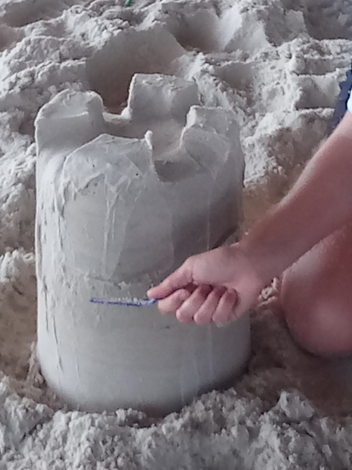Janel Hawkins begins sculpting the castle